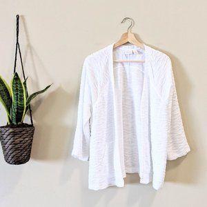 Chicos White Textured 3/4 Sleeve Cardigan